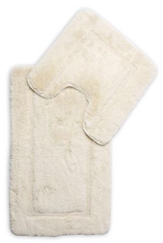 DESIGNER LUXURY SOFT MICROFIBRE BATH MAT & PEDESTAL CREAM COLOUR